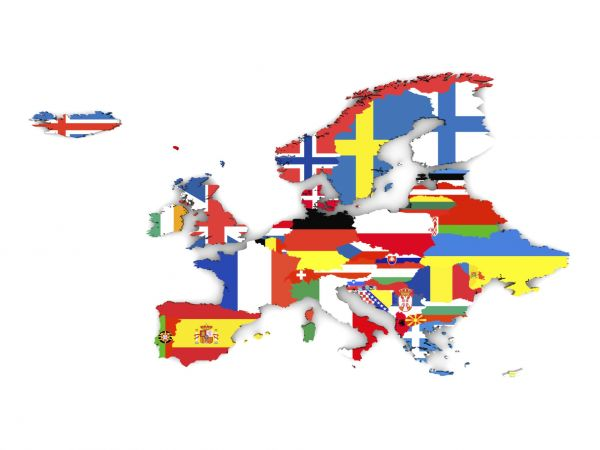 Political Map Of Europe With State Flags Isolated On White Background - W2